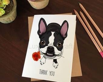 Super Cute Boston Terrier Thank You Card, Boston Terrier Greeting Card, Cute Puppy Thank You Card, Black & White Dog, Thank You Card