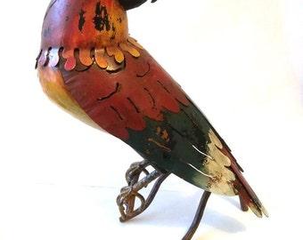 """Vintage 15"""" McCall Bird Metal Sculpture Figurine Hand Crafted Wrought Iron Enamel Bird Garden Home Decoration Galvanized Steel McCall Bird"""