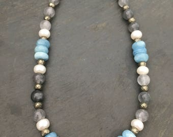 Aquamarine, Pyrite, Freshwater Pearl & Quartz Beaded Choker Necklace // Adjustable to fit everyone