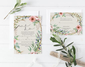 Bohemian Wedding Invitations - Boho Wedding Invites Wedding Suite, Boho Invitation Kit, Custom Boho Invitations Floral Invitation -Angeline
