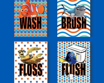 Finding Nemo Dory Wash Brush Floss Flush Kids Bathroom Wall Art - Set of 4