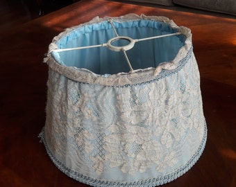 Vintage Uno Fabric/Linen Crochet Lamp Shade For Antique Iron Floor Lamps