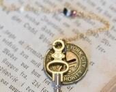 NYC Subway Token Necklace - New York Vintage - New York Transit Token - Vintage Pocket Watch Key - Gold - New York Jewelry NYC Love