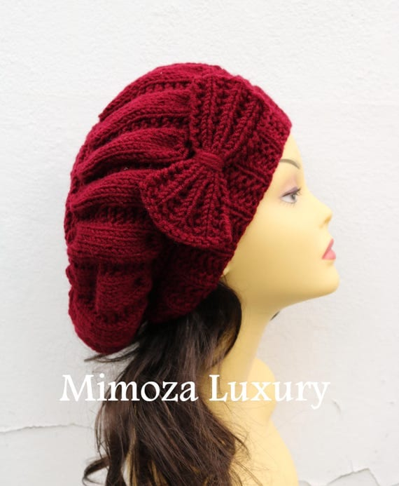 Bordeaux Red Woman Hat with Bow, Bordo Beret Lady's hat with bow, red hand knit hat, bordo slouchy winter knit women's hat with bow,