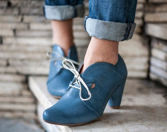 Marie Blue oxford shoes. Original price 269! handmade leather shoes by Liebling.