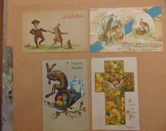Four vintage Easter bunny rabbit postcards angel cross eggs lilies German 1909