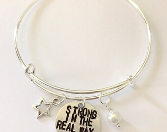 "Steven Universe Pearl Inspired Bangle - ""Strong in the Real Way"""