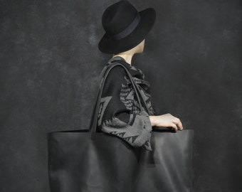 Leather Tote Large Leather Tote Women Leather Tote Bag Black Leather Tote Bag Shopper bag Oversize leather bag - M73