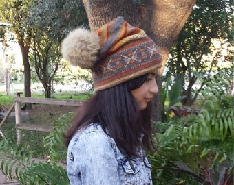 "New handmade slouchy hat with removable coyote fur pom pom, unisex, 23"" and streches, recycled materials, hat, tribal print, timeless"