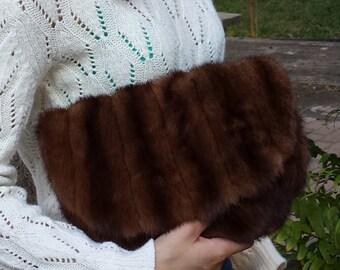 New handmade brown mink clutch bag, real fur, recycled mink, handbag, evening bag, unique,