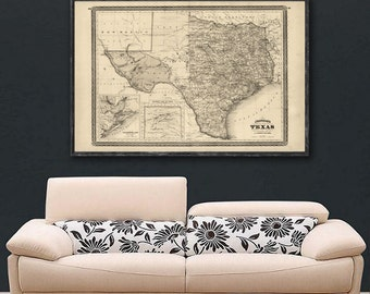 "Map of Texas 1870, Vintage Texas map reprint - 6 large/XL sizes up to 72x48"" in 1 or 4 parts-in 3 three colors"