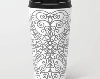 Metal Travel Mug - Mandala Travel Mug - Stainless Steel Travel Mug With Lid - Gift For Men - Gift For Women - Aldari Home