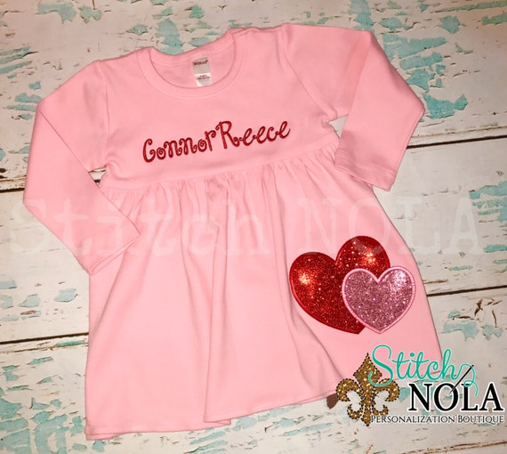 Double Glitter Heart Pink Dress, Heart Applique, Double Heart Applique, Valentine's Day Dress, Heart Dress, Pink Dress