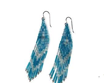 Southwest Earrings, Dangle Earrings, Beaded Earrings, Teal bead Earrings