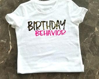 Girl's Birthday Shirt, Little Girl's Birthday Behavior Shirt, Birthday Party Shirt, Glitter Birthday Shirt