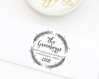 Address Stamp, Return Address Stamp, Wreath Address Stamp, Stamp Style No. 53