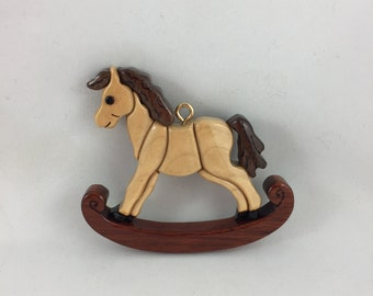 Wooden Maple Rocking Horse Ornament