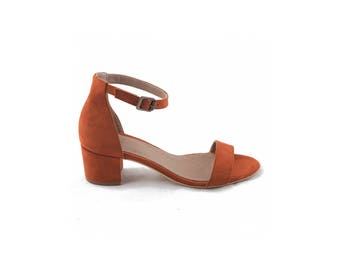 Vegan Shoes Ethical and Eco-Friendly Woman Ankle Strap Sandals - IRENE ORANGE