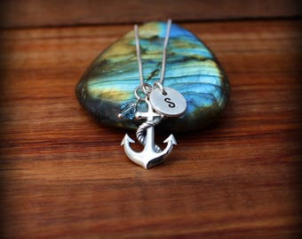 Sterling silver anchor necklace, Navy necklace, Nautical necklace,Anchor charm necklace