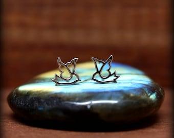 Dove earrings, Sterling silver dove post earrings