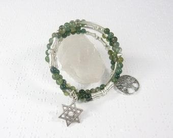 Jewish Bracelet, Star of David Wrap Bracelet, Tree of Life Charm Bracelet, Bat Mitzvah Gift, Jewish Jewelry, Adjustable Memory Wire Bracelet
