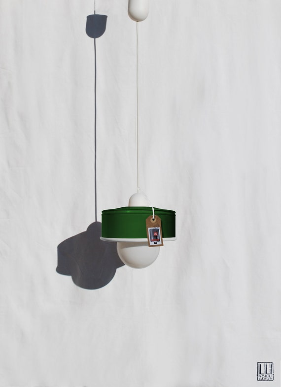 Hanging / pendant / ceiling lamp bottle green color ... eco friendly & handmade : recycled from  coffee can !