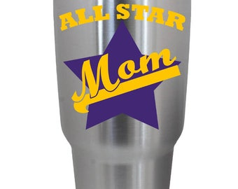 All Star Mom Vinyl Decal, Personalized with your Color choice