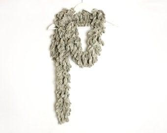 Vintage Grayish Beige Crocheted Ruffle Faux Fur Scarf Boho Avant Garde Style