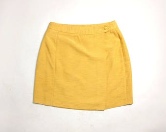 Vintage 80's French Yellow Wrap Mini Skirt High Waist