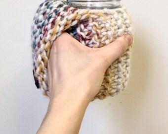 Handle mug holder | mug cozy | tea accessories | coffee accessories | hand warmer | knit accessories | knit cozy | mug cuff | Mason jar cozy