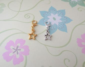 Gold or Silver Star Clip On Bracelet Charm/Purse Charm/Zipper Pull Charm/Planner Charm - Ready to Ship