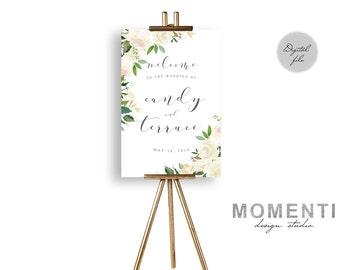 Wedding Welcome sign printable, garden white cream roses wedding sign printable, garden wedding reception sign DIY, The Asli collection