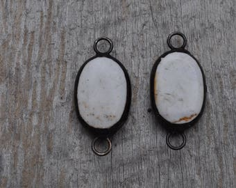 Large Soldered White Turquoise Oval Connector