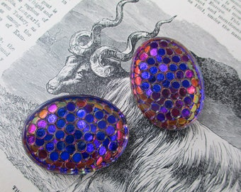 2 Unusual Vintage Giant Gems Glass Oval Reflectors Blue Purple Cabochon Lot Strange Texture Like Eyes or Scales Bizarre Unique Weird Amazing