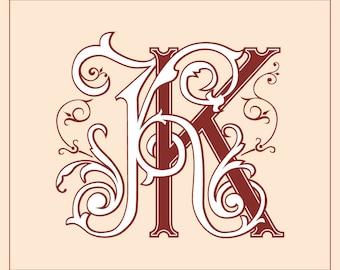 Wedding logo KK | Vintage Monogram | Wedding Clip Art