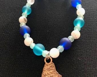 Maine Summer: Glass & Quartz Stretch Bracelet