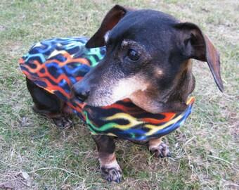 Dachshund Jacket~Rainbow Flames Print~Reversible Fleece Dog Jacket~Soft Double Fleece Dog Coat~Dachshund Clothes~Dog Coat~