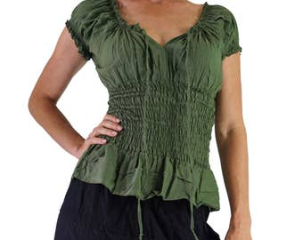 SS PEASANT BLOUSE - Zootzu, Pirate, Renaissance Festival Costume, Chemise, Gypsy Top, Steampunk Shirt, Corset Top, Medieval Costume, - Green