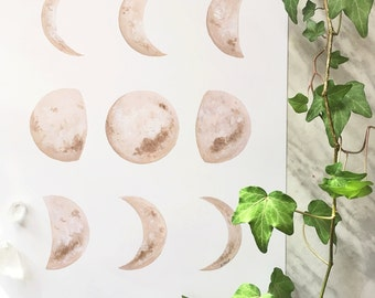 Moon Phase Art, Moon Phase Print, Moon Phase Decor, Crescent Moon Art, Dreamy Moon, Boho Decor, Boho Moon, Moon Painting, Moon Art
