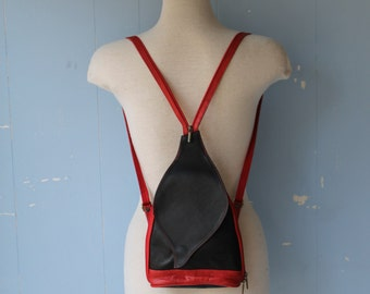 Vintage 90s Small Red and Black Leather Backpack/Tiny Backpack/Rare Style/Street Style/Mde in Italy/