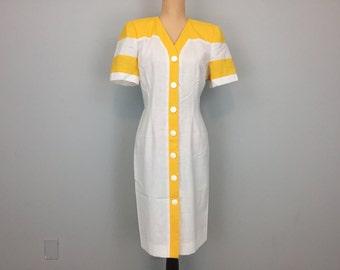Summer Day Dress Color Block Dress Fitted Short Sleeve Button Up Dress Bright Yellow Lemon Collarless Size 8 Dress Medium Womens Clothing