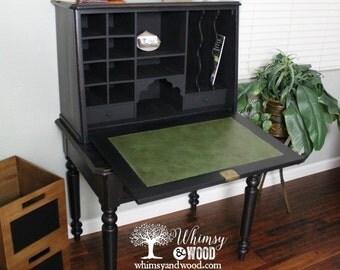 Painted Antique American Breakfront Desk, Walnut