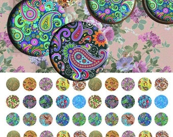 Paisley12mm- 1/2 inch or 12 mm Images 4x6 Digital Collage INSTANT DOWNLOAD