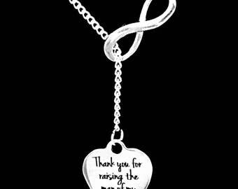 Mother Of The Groom Gift, Thank You For Raising The Man Of My Dreams Necklace, Mother In Law Wedding Party Infinity Lariat Gift Necklace