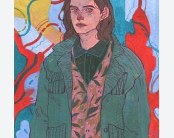 128 - Original Art - Gouache Painting  - Portrait