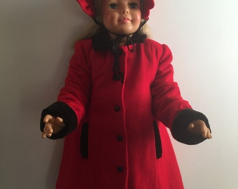 Vintage Red Wool Toddler Girl's Coat and Hat