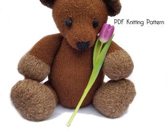 Knitted Grand Teddy Bear Pattern, PDF Pattern, Knitting Pattern, DIY, Amigurumi, Knitted Bear, Stuffed Animal, Stuffed toy, Hand Knit Toy