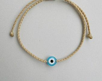Evil eye bracelet,Teal blue evil eye,Beige string bracelet,8mm flat acrylic bead,Unisex,Adjustable,Surf gifts,Water proof,Traditional greek