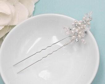 Swarovski crystal freshwater pearl wedding hair pin, bridal hair accessories, pearl rhinestone hairpin, bridal hair pearl, hairpin 206546384