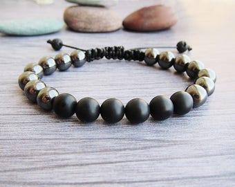 Men's bracelet Hematite bracelets Black onyx bracelet Shamballa bracelets Hippie bracelets String bead bracelet Adjustable Bracelets for him